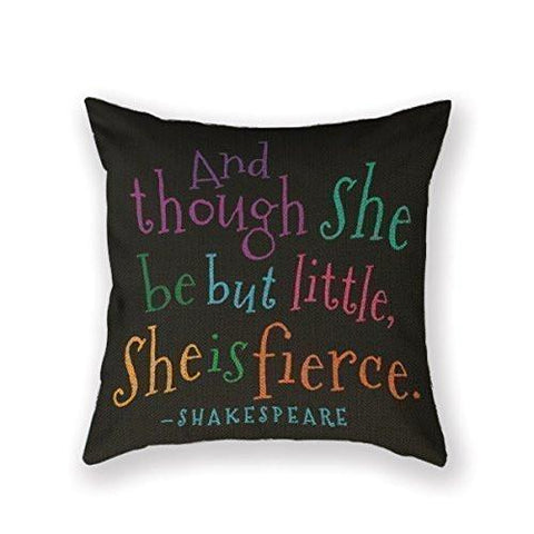 Image of SIXSTARS Funny Though She Be But Little Quote Book Group Throw Pillow Square Cotton Linen Pillowcase Cover Cushion (18X18Inch)
