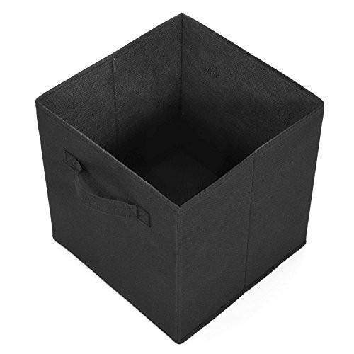 Collapsible Storage Bins, MaidMAX Set of 6 Foldable Nonwoven Cloth Organizers Basket Cubes with Dual Handles for Gift, Black - zingydecor