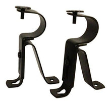 Curtain Rod Brackets - Black (Set of 2) -Adjustable (Also known as - Curtain rod Holder / Bracket for Drapery rod / Window Drapery rod bracket set for Draperies / adjustable curtain rod brackets) - zingydecor