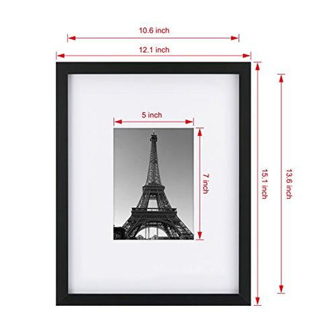 Upgraded Tempered Glass 11x14 Picture Frame with Mats for 8x10 OR 5x7 Documents Wall Mounting Material Included Black Frame(Both Vertical and Horizontal Supported)