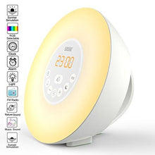 Load image into Gallery viewer, Sunrise Alarm Clock,Sztook Wake Up Light,Nature Sounds,FM Radio,7 Colors Night Light,Smart Snooze Function,Touch Control with USB Charger - zingydecor