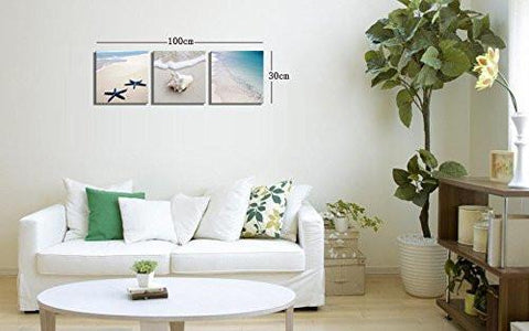 Image of Canvas Prints Seaside Beach Photos on Canvas Wall Art Stretched and Framed Modern Decor Paintings Giclee Artwork for Home Decoration 12x12inch - zingydecor