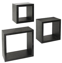 Load image into Gallery viewer, Greenco Set of 3 Floating Cube Shelves, Espresso Finish - zingydecor
