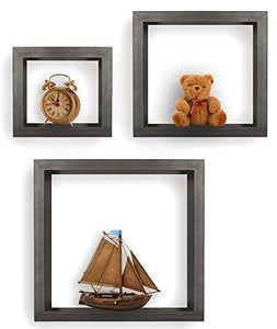 Greenco Set of 3 Floating Cube Shelves, Espresso Finish - zingydecor
