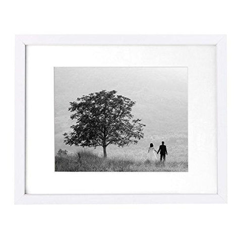 11x14 White Wall Picture Frame - Made to Display Pictures 8x10 with Mat or 11x14 Without Mat - Made with Glass