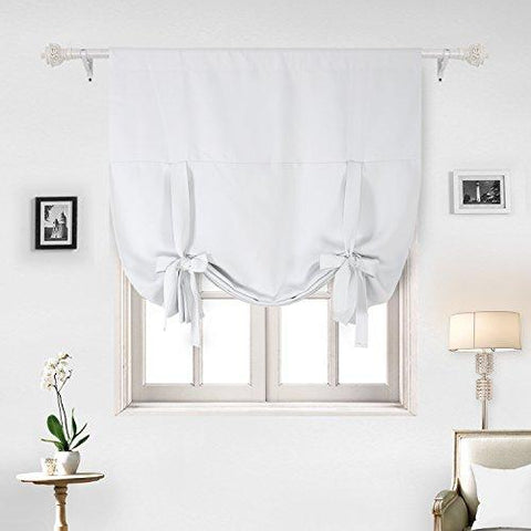 Deconovo Blackout Curtain Tie Up Shade Window Panels for Living Room and Bedroom Greyish White 46W x 63 One Panel