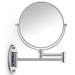 Miusco 7X Magnifying Two Sided Vanity Makeup Mirror, 8 inch, Wall Mount, Round, Chrome - zingydecor