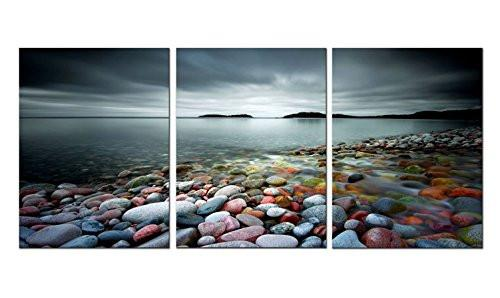 Amoy Art -3 Panels The Colorful Stones under Sunset Landscape Canvas Prints Wall Art for Home Decorations Stretched Frame Ready to Hang (12x16inx3pcs) - zingydecor