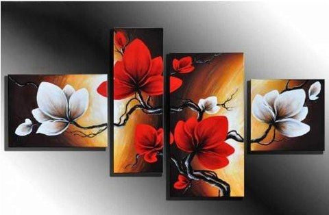 100% Hand-painted Wood Framed on the Back Full Bloom in Spring Red Flowers High Q. Wall Decor Landscape Oil Painting on Canvas 4pcs/set Mixorde