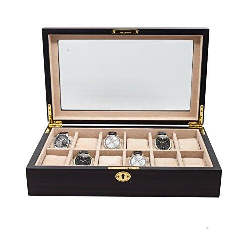 12 Piece Ebony Wood Watch Display Case and Storage Organizer Box - zingydecor