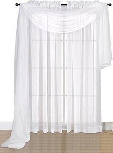 Premium White Sheer Scarves - Sheer Curtains - White Luxurious - 54 by 216 Inches - by Utopia Bedding - zingydecor
