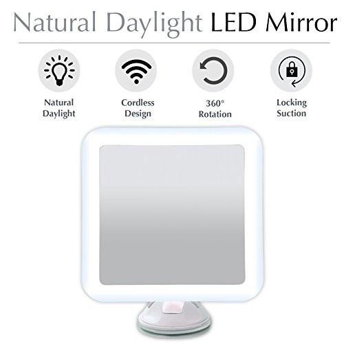 "Fancii 7X Magnifying LED Lighted Makeup Mirror with Strong Suction Cup - 6.5"" wide, Natural Daylight, Cordless Portable Vanity Mirror with Light (Square)"