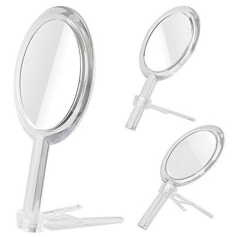 Image of Gotofine Double Sided 1x - 7x Magnification Hand Held Makeup Mirror with Stand,clear (7x)