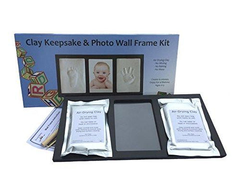 Image of Clay Handprint & Footprint Keepsake Photo Wall Mount Frame - Black
