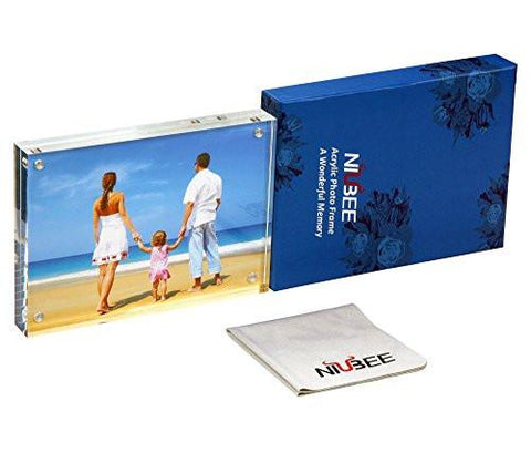 "Image of Niubee Clear Acrylic Photo Frame 4x6"" Gift Box Package, Double Sided Magnetic Acrylic Block Picture Frames, Frameless Desktop Postcard Display"