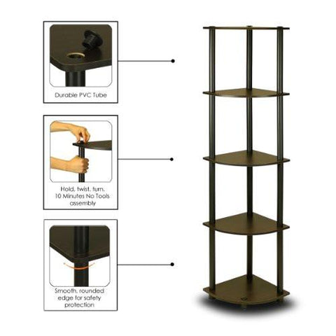 Image of Furinno 99811EX/BK Turn-N-Tube 5 Tier Corner Shelf