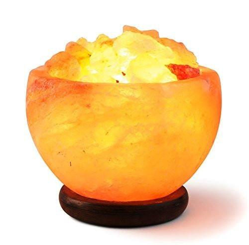 Hand Crafted HemingWeigh Rock Salt Bowl Lamp with Salt Chips, Wood Base, Electric Wire & Bulb - zingydecor