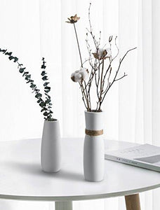 OPPS White Ceramic Vases With differing Unique Rope Design For Home Décor – Set of 2 - zingydecor