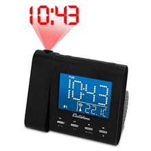 Load image into Gallery viewer, Electrohome EAAC601 Projection Alarm Clock with AM/FM Radio, Battery Backup, Auto Time Set, Dual Alarm, Nap/Sleep Timer, Indoor Temperature/Day/Date Display with Dimming, 3.5mm Audio Connection - zingydecor