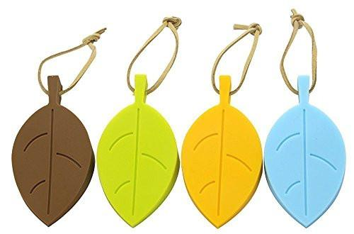 Door Stopper Wedge Finger Protector, 4 Pack Premium Cute Colorful Leaf Style