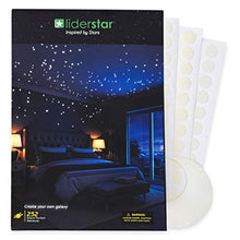 Load image into Gallery viewer, Glow In The Dark Stars Wall Stickers, 252 Dots and Moon for Starry Sky, Perfect For Kids Bedding Room or Birthday Gift, Beautiful Wall Decals by LIDERSTAR, Delight The One You Love.