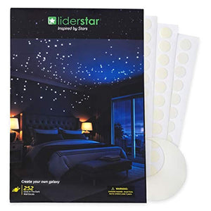 Glow In The Dark Stars Wall Stickers, 252 Dots and Moon for Starry Sky, Perfect For Kids Bedding Room or Birthday Gift, Beautiful Wall Decals by LIDERSTAR, Delight The One You Love. - zingydecor