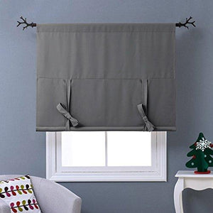 "NICETOWN Thermal Insulated Grey Blackout Curtain - Tie Up Shade for Small Window (Rod Pocket Panel, 46""W x 63""L) - zingydecor"