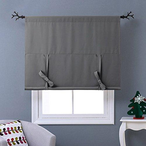 "NICETOWN Thermal Insulated Grey Blackout Curtain - Tie Up Shade for Small Window (Rod Pocket Panel, 46""W x 63""L)"