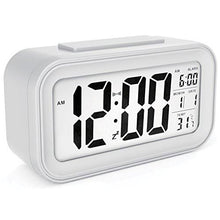 Load image into Gallery viewer, Digital Clock Morning Clock Low Light Sensor Technology Light On Backlight When Detect Low Light Soft Light That Won't Disturb The Sleep (White) - zingydecor