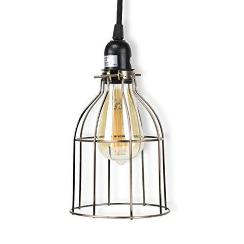 Image of Rustic State Industrial Vintage Style Curved Top Light Cage for Pendant Light Lamps (Oil Robbed) - zingydecor