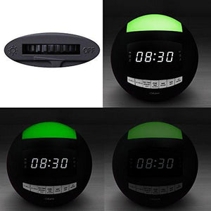 OnLyee Digital Dimmable Alarm Clock Radio & Wireless Bluetooth Speaker with Dual USB Charging, Multi-Color LED Night Light, Hands-free Calls, Snooze - zingydecor