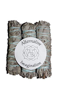 Premium California White Sage 4 Inch Smudge Sticks - 3 Pack, Alternative Imagination Brand - zingydecor