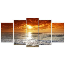 Grand Sight 5 Panels Modern Landscape Artwork HD Seascape Giclee Canvas Prints Sea Beach Pictures to Photo Paintings on Canvas Wall Art Décor for Living Room Bedroom Decorations - zingydecor