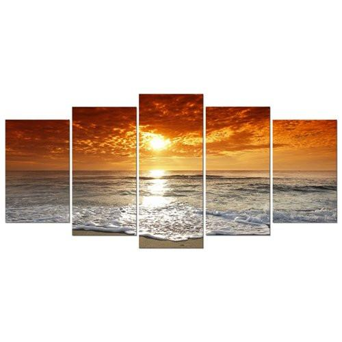 Grand Sight 5 Panels Modern Landscape Artwork HD Seascape Giclee Canvas Prints Sea Beach Pictures to Photo Paintings on Canvas Wall Art Décor for Living Room Bedroom Decorations
