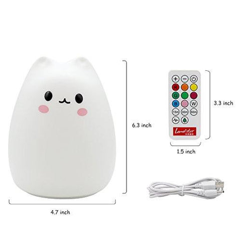 Image of ANTEQI Carton Night Light Silicone Remote Timer Cute Cat Lamp Tap Control Lamp For Kids Bedroom...