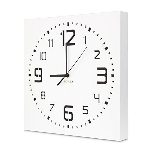 Wall Clock by Kauza, Silent, Non-Ticking, Quartz, Indoor and Outdoor Wall Clock with 3D Laser Cut Out, Modern Numerals in Wooden Frame Battery Operated (11.8in, White) - zingydecor