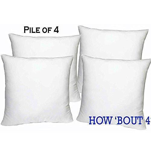 Set of 4 - 18 x 18 Premium Hypoallergenic Stuffer Pillow Insert Sham Square Form Polyester, Standard / White - MADE IN USA - zingydecor