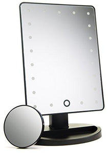 Natural Daylight Lighted Makeup Mirror / Vanity Mirror with Touch Screen Dimming, Detachable 10X Magnification Spot Mirror, Portable Convenience and High Definition Clarity Cosmetic Mirror - zingydecor