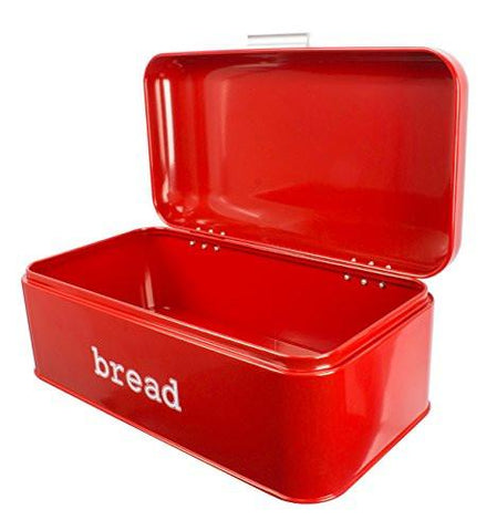 Image of Bread Box For Kitchen - Bread Bin Storage Container For Loaves, Pastries, and More - Retro / Vintage Inspired Design - Red - 16.75 x 9 x 6.5 Inches
