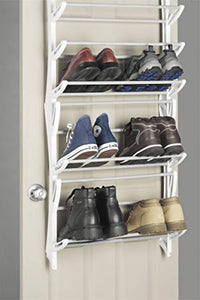 Whitmor 36-Pair OTD Shoe Rack, White - zingydecor