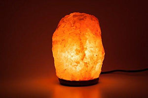 Natural Himalayan Rock Salt Lamp 19-25 lbs with Wood Base, Electric Wire & Bulb - zingydecor