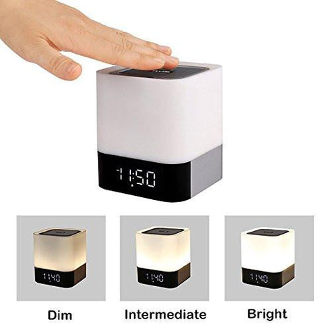 Wireless Bluetooth 4.0 Speaker Portable HIFI Stereo with Led Light Lamp and Alarm Clock, Hands-free Calls,Quality Sound, Touch Sensor, MP3 Player, Support SD TF Card, 3.5mm AUX Jack (White)