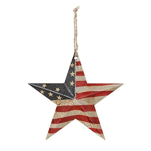 Darice Americana 4th July Decor - USA Flag Crackled Barn Star - SM 5.75 4pk
