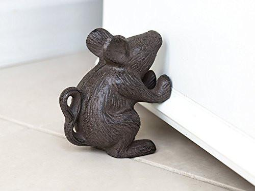 Cast Iron Mouse Door Stop - Decorative Rustic Door Stop - Stop your bedroom, bath and exeterior doors in style - Vintage Brown Color