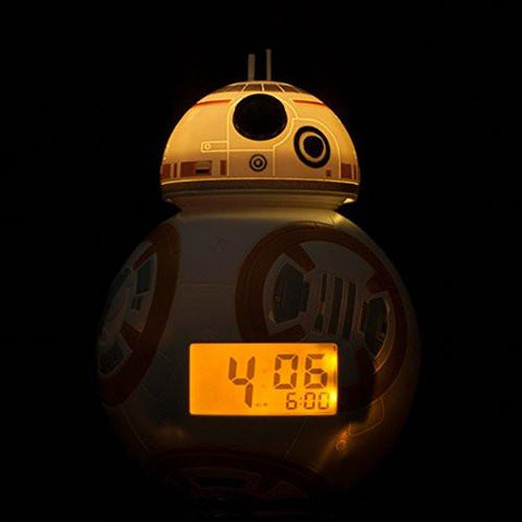 Image of BulbBotz Star Wars BB-8 Kids Light Up Alarm Clock, white/orange plastic 7.5 inches tall LCD display, boy girl official