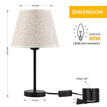 Load image into Gallery viewer, HAITRAL Bedside Table Lamps - Small Nightstand Lamps Set of 2 with Fabric Shade Bedside Desk Lamps for Bedroom, Living Room, Office, Kids Room, Girls Room, Dorm 15 Inches - Black (HT-TH28-27X2) - zingydecor