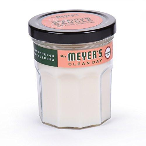 Mrs. Meyers Merge Clean Day Scented Soy Candle, Geranium, Small - zingydecor