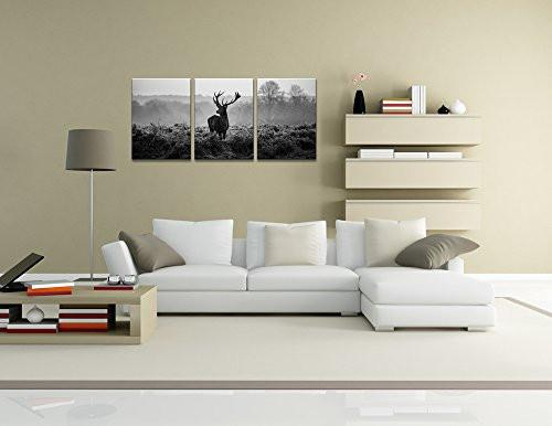 Canvas Prints, Black and white deer Wall Art oil Paintings Printed Pictures Stretched for Home DecorationHS30X40-3