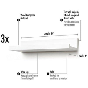 Set of Three 14-inch Floating Wall Shelves by Americanflat, White - zingydecor