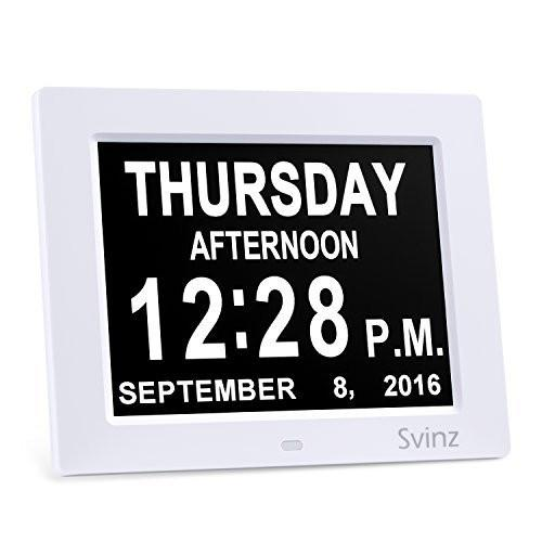"3 Alarm Options - 8"" Digital Calendar Alarm Day Clock with Extra Large Non-Abbreviated Day & Month SDC008 by Svinz - 2 Color Display Settings - zingydecor"